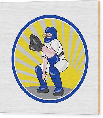 Baseball Catcher Catching Side Circle Wood Print by Aloysius Patrimonio