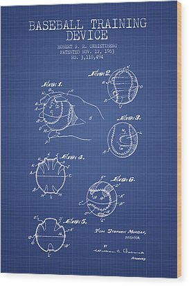 Baseball Cover Patent From 1963- Blueprint Wood Print by Aged Pixel