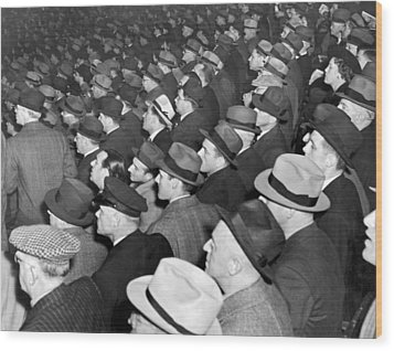 Baseball Fans At Yankee Stadium For The Third Game Of The World Wood Print by Underwood Archives