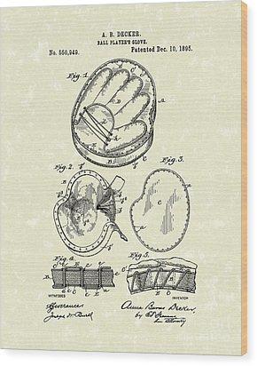 Baseball Glove 1895 Patent Art Wood Print by Prior Art Design