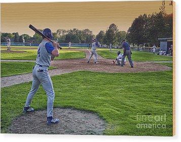 Baseball On Deck Circle Wood Print by Thomas Woolworth