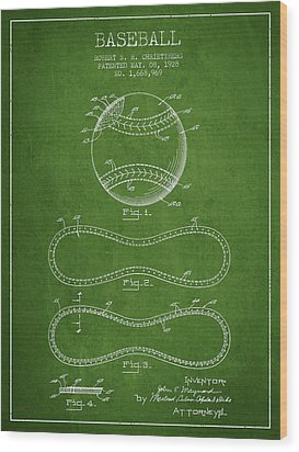 Baseball Patent Drawing From 1928 Wood Print by Aged Pixel