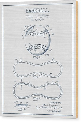Baseball Patent Drawing From 1928 - Blue Ink Wood Print by Aged Pixel