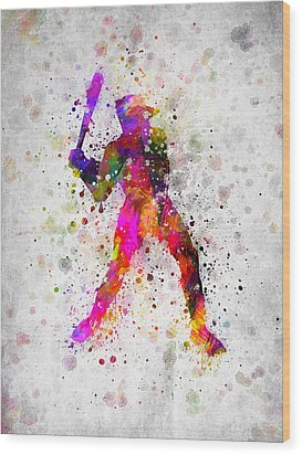 Baseball Player - Holding Baseball Bat Wood Print by Aged Pixel