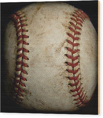 Baseball Seams Wood Print by David Patterson