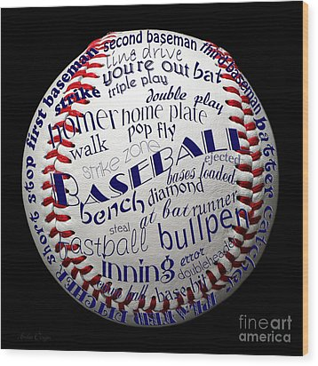 Baseball Terms Typography 1 Wood Print by Andee Design
