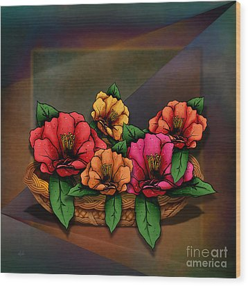 Basket Of Hibiscus Flowers Wood Print by Bedros Awak