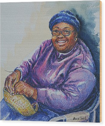 Basket Weaver In Blue Hat Wood Print by Sharon Sorrels