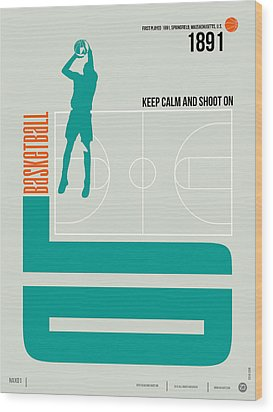 Basketball Poster Wood Print by Naxart Studio