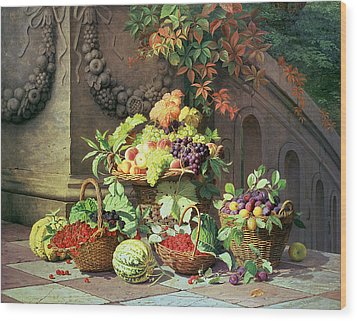Baskets Of Summer Fruits Wood Print by William Hammer