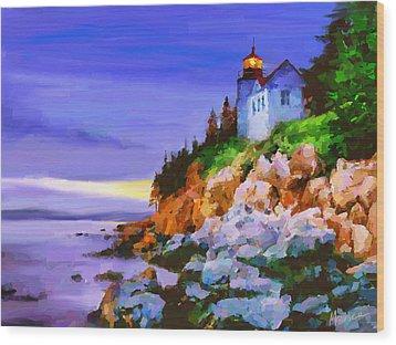 Bass Harbor Head Light At Sunset Wood Print by Marina Likholat