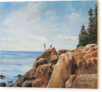 Bass Harbor Rocks Wood Print by Lee Piper
