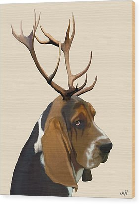 Basset Hound With Antlers Wood Print by Kelly McLaughlan