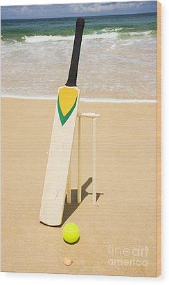 Bat Ball And Stumps Wood Print by Jorgo Photography - Wall Art Gallery