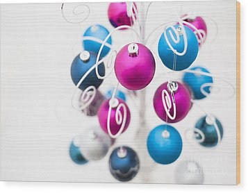 Baubles From Above Wood Print by Anne Gilbert