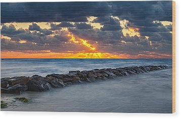 Bayside Sunset Wood Print by Bill Wakeley