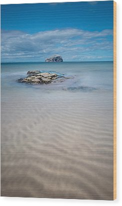 Beach At Bass Rock Wood Print by Keith Thorburn LRPS