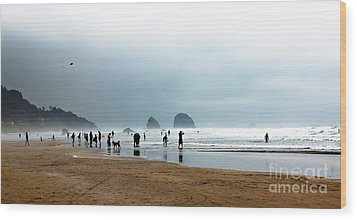 Beach Fun At Ecola  Wood Print by Robert Bales