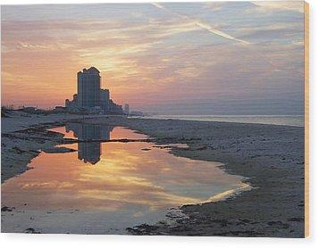 Beach Reflections Wood Print by Michael Thomas