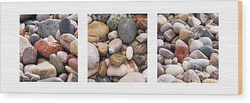 Beach Stones Triptych Wood Print by Stelios Kleanthous