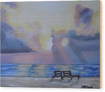 Beach Sunset Wood Print by Melissa Torres