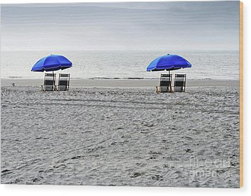 Beach Umbrellas On A Cloudy Day Wood Print by Thomas Marchessault