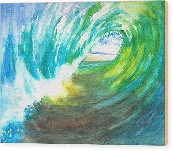 Beach View From Wave Barrel Wood Print by Carlin Blahnik