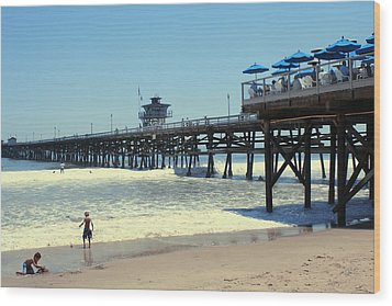 Beach View With Pier 1 Wood Print by Ben and Raisa Gertsberg