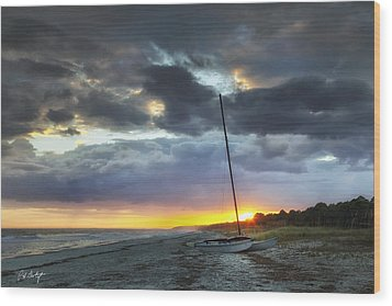 Beached For The Night Wood Print by Phill Doherty