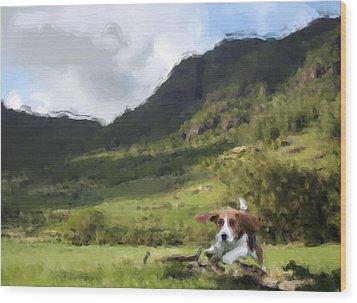 Beagle Love Wood Print by Gabriel Mackievicz Telles