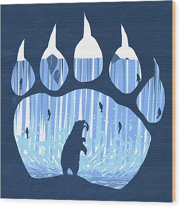 Bear Paw Wood Print by Daniel Hapi