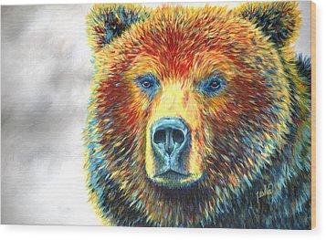 Bear Thoughts Wood Print by Teshia Art