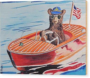 Bearboat Wood Print by LeAnne Sowa