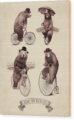 Bears On Bicycles Wood Print by Eric Fan