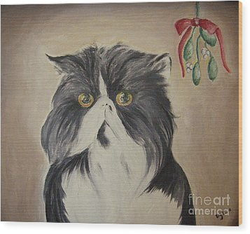 Beau With Mistletoe Wood Print by Victoria Lakes