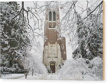 Beaumont Tower Ice Storm  Wood Print by John McGraw