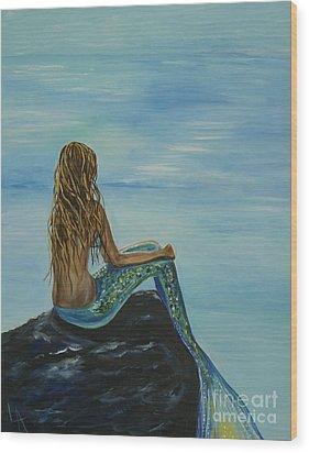 Beautiful Magic Mermaid Wood Print by Leslie Allen