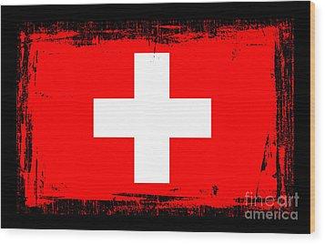 Beautiful Switzerland Flag Wood Print by Pamela Johnson
