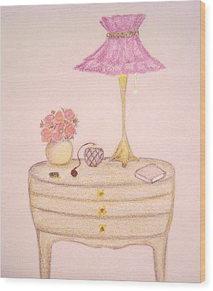 Bedside Table Wood Print by Christine Corretti