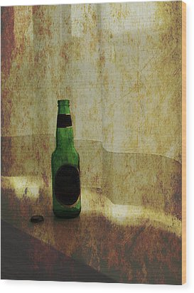 Beer Bottle On Windowsill Wood Print by Randall Nyhof