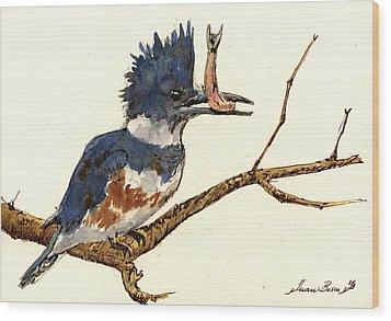 Belted Kingfisher Bird Wood Print by Juan  Bosco