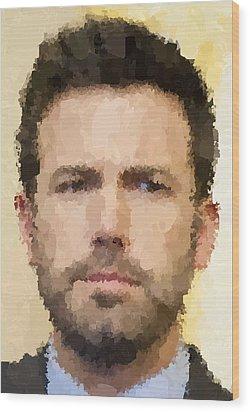 Ben Affleck Portrait Wood Print by Samuel Majcen