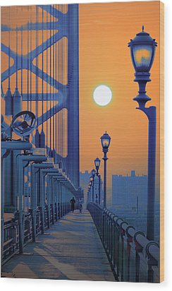 Ben Franklin Bridge Walkway Wood Print by Bill Cannon