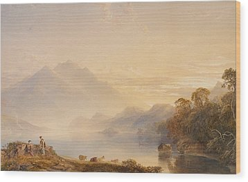 Ben Venue And The Trossachs Seen From Loch Achray Wood Print by Anthony Vandyke Copley Fielding