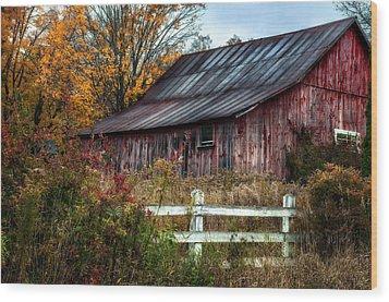 Berkshire Autumn - Old Barn Series   Wood Print by Thomas Schoeller