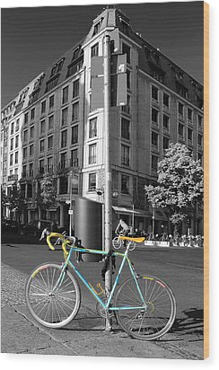 Berlin Street View With Bianchi Bike Wood Print by Ben and Raisa Gertsberg