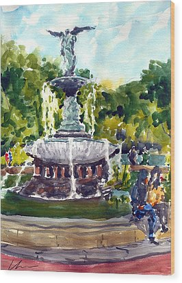 Bethesda Fountain At Central Park Wood Print by Chris Coyne