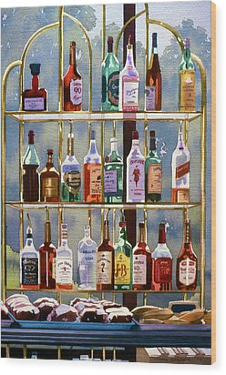 Beverly Hills Bottlescape Wood Print by Mary Helmreich