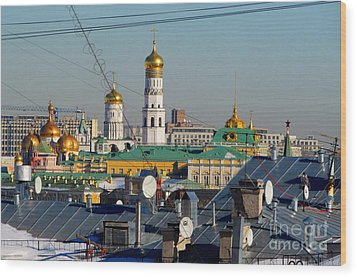 Beyond The Rooftops 2 Wood Print by Anna Yurasovsky