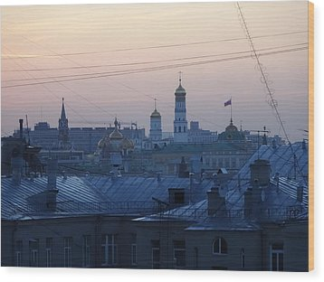 Beyond The Rooftops Wood Print by Anna Yurasovsky